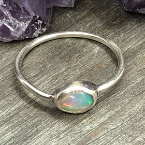 Sterling sliver real Ethiopian rainbow fire opal